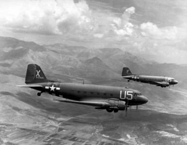 """War Theatre #12 (France) - AIRPLANES  Douglas C-47 """"Skytrains"""", 12th Air Force Troop Carrier Wing, loaded with paratroopers on their way for the invasion of southern France, 15 August 1944."""
