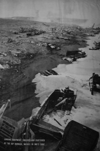 Japanese artillery hit the second wave of Marines coming ashore Iwo Jima