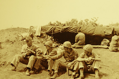 Photo of Saulmon and his tank crew on Iwo Jima