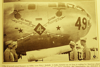 A B-29 nose paying tribute to the 4th Marine Division to their securing the airfields for the Air Corps.