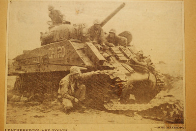 Photo taken by a news correspondent and later used on the front cover of the book, Tank Battles of the Pacific