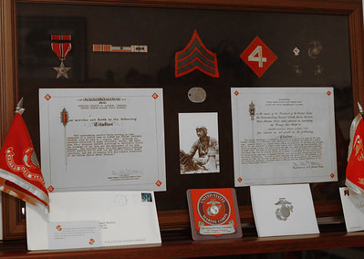 Charles Saulmon's Marine Corps decorations in a shadow box