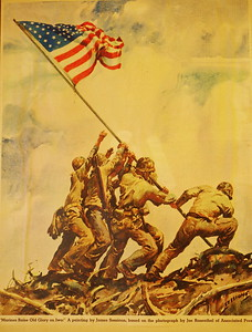 Artist rendition of the Rosenthal photo of the flag raising on Mt. Suribachi