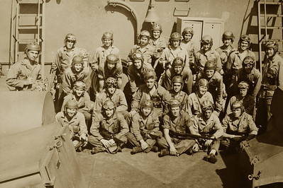 Tank crews on board ship just before invasion Saulmon is in the 1st row, 2nd on the left sitting