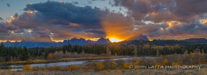 Setting Sun Behind the Teton Range, Buffalo Fork