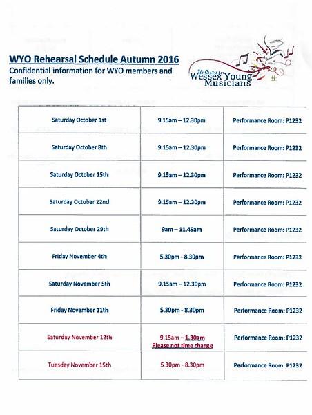 WYO Rehearsal Schedule Autumn 2016 Page 1