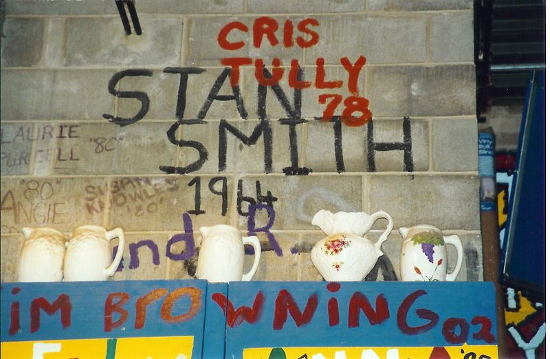 """And on another wall in the room just off the Old Stage is another proudly displayed classmate's name """"Stan Smith 1964""""!"""