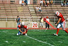 Holder (10) Dustin DeNeal and place kicker (44) Olmy Olmstead - September 20, 2003 Earlham Quakers at the Wabash Little Giants   (Old Canon AE-1 35mm film camera)