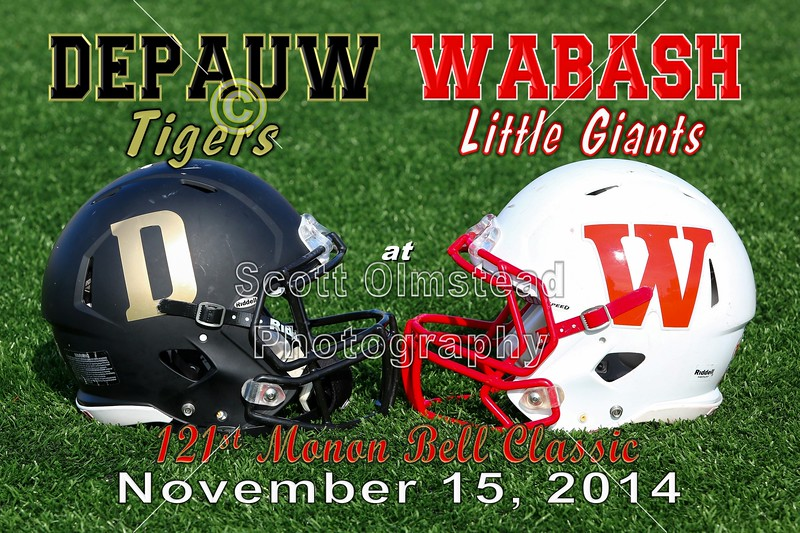 The 121st Monon Bell Classic - DePauw University Tigers at Wabash College Little Giants - Saturday, November 15, 2014