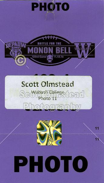 Game Day Credential - The 123rd Monon Bell Classic - DePauw University Tigers at Wabash College Little Giants - Friday, November 11, 2016