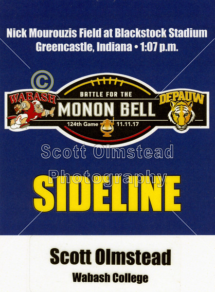 Sideline Credential - The 124th Monon Bell Classic featuring the Wabash College Little Giants at DePauw University Tigers - Saturday, November 11, 2017