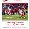 Official Game Day Program - Allegheny College Gators at Wabash College Little Giants - Saturday, November 3, 2018