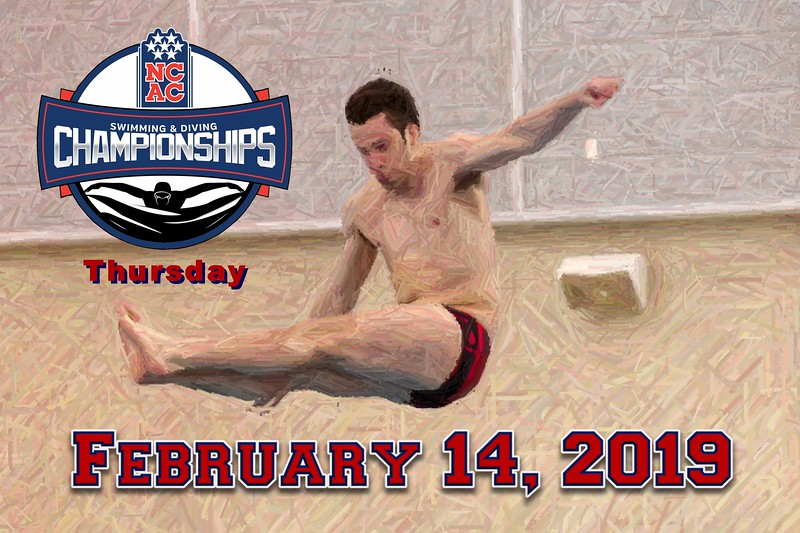 Day Two - The NCAC League Championships Held at The Mitchell Center on the Campus of Denison University in Granville, Ohio - Thursday, February 14, 2019