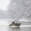 Duck hunters head upstream on the Wabash River after a good morning's hunt on December 29, 2012.