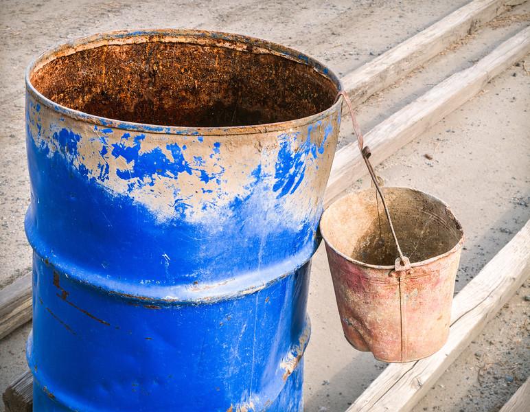 Barrel and bucket, Merced County, California, 1994
