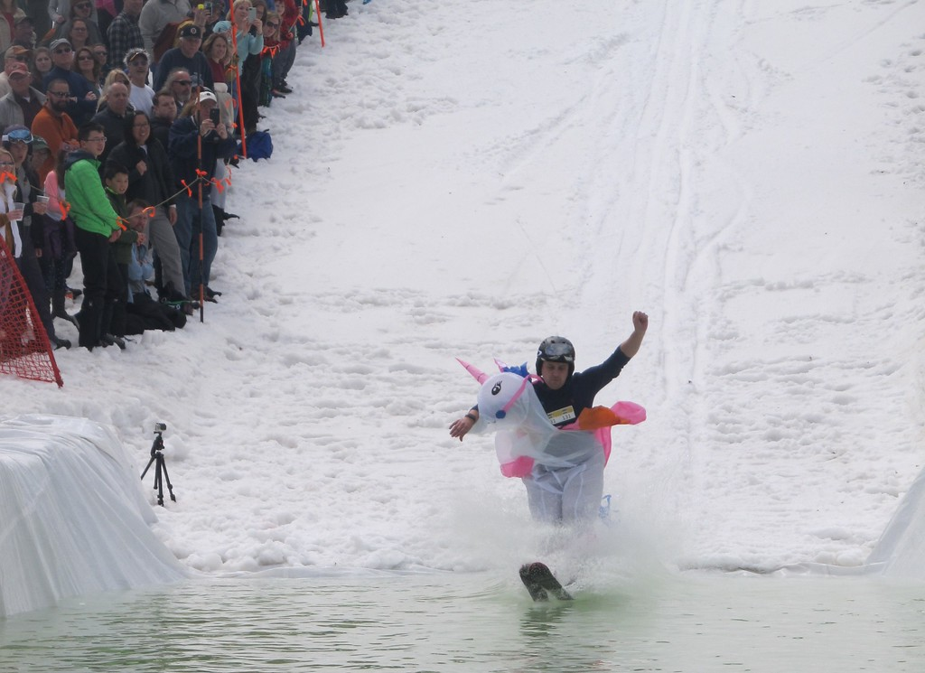 . Foxboro\'s Aaron Jeskui and his unicorn friend attempt to cross the water during Wachusett Mountain\'s Pond Skim Festival on Sunday. SENTINEL & ENTERPRISE / Nick Mallard