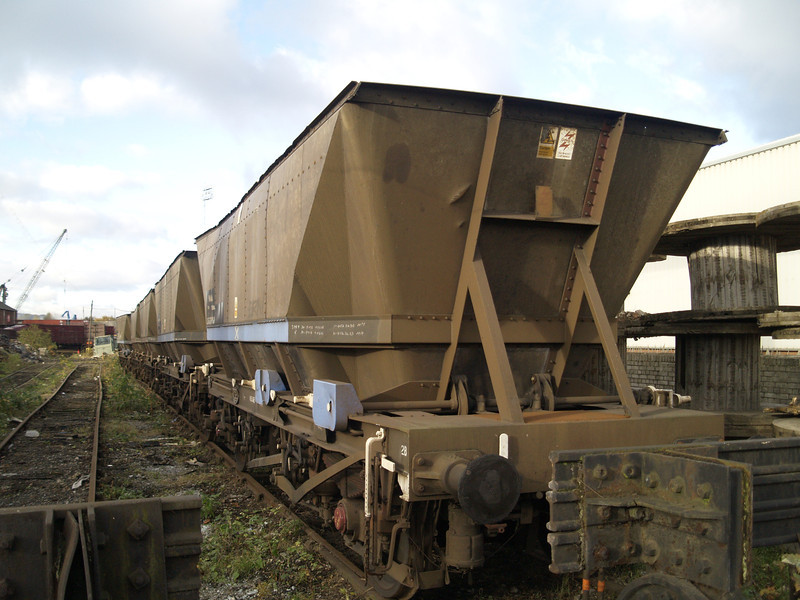 MGR hoppers that were stored at Neville Hill arrived and 5 are seen here at Booths on 06/11/10