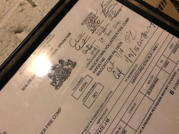 Recent boiler inspection certificate - 416 W. Kings Hwy