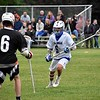 GEOFF SMITH — THE BERKSHIRE EAGLE<br /> Wahconah long stick midfielder Trey Massaro watches Belchertown's Jack Filippelli during a Central/Western Massachusetts Division III tournament game in Dalton on Monday.