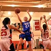 GEOFF SMITH — THE BERKSHIRE EAGLE<br /> Wahconah freshman Noelle Furlong goes up for a shot against Hoosac Valley.