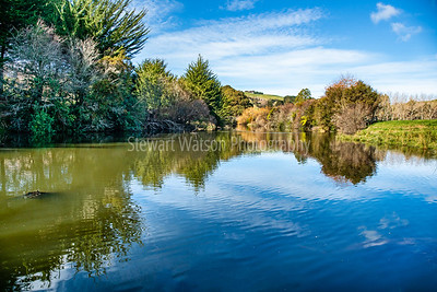 Peaceful tree lined   little river in the Wairarapa rural countryside with lovely reflections