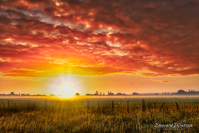 Dramatic sunrise over the agricultural land at Featherston