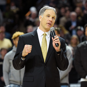 Coach Clawson talks to crowd