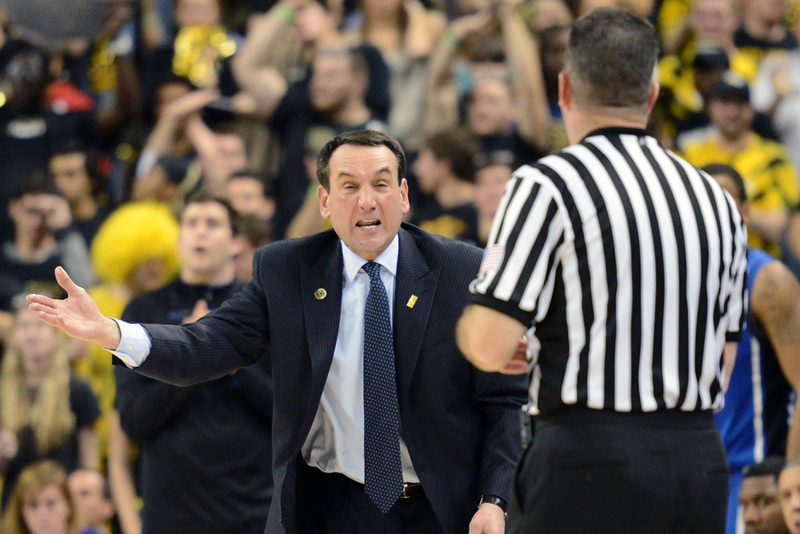 Coach K shouts at Ref