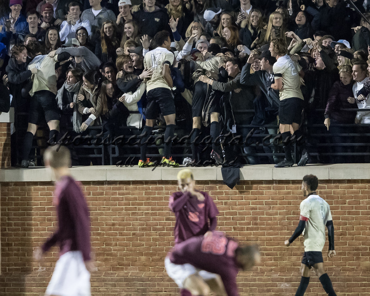 Wake Forest players celebrate their first goal.