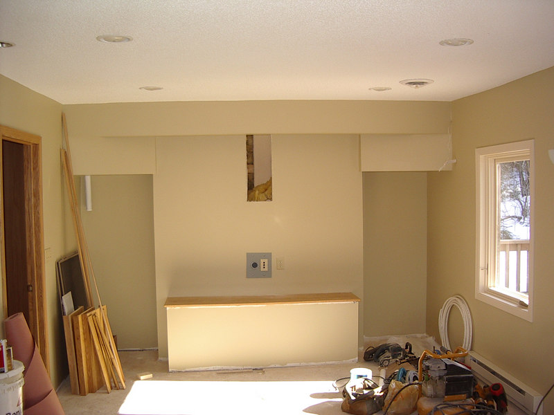 Studio being made ready for installation of front speakers and TV monitor.