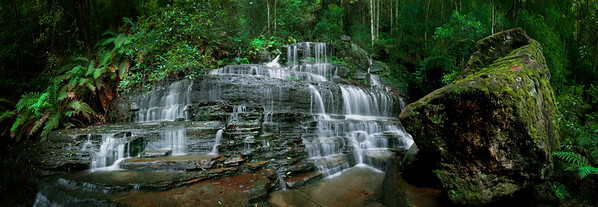 Australia --- High resolution panoramic image of a spectacular waterfall in NSW --- Image by © 167/Brooke Whatnall/Ocean/Corbis