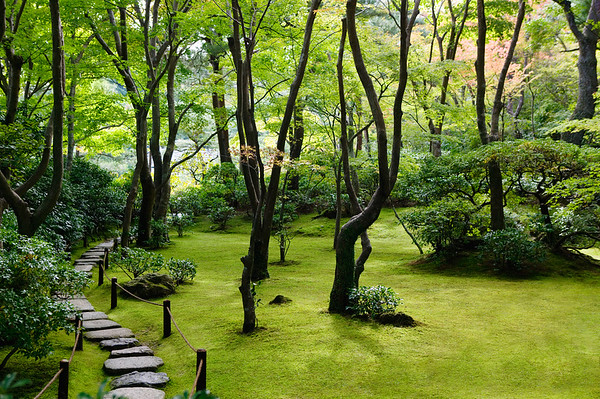 Kyoto, Japan --- Steppingstone Path Through Japanese Garden --- Image by © moodboard/Corbis