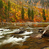 Fall Color and Wanatchee River in Tumwater Canyon in Wenatchee National Forest Washington