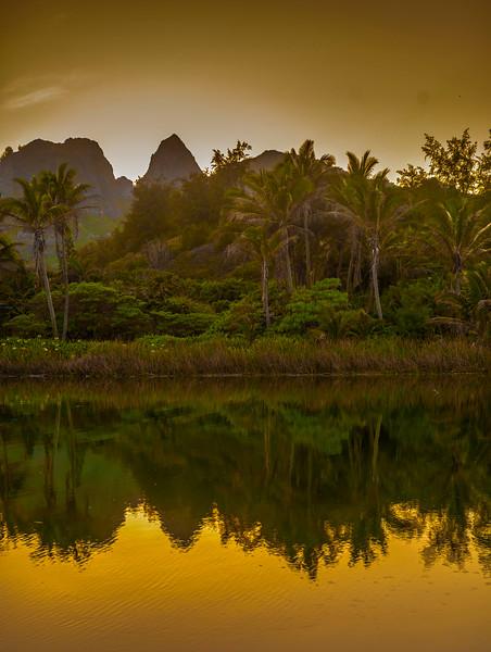 Kauai, Hawaii, USA --- Kalalea Mountains and Anahola River, Kauai, Hawaii, USA --- Image by © Mark A. Johnson/Corbis
