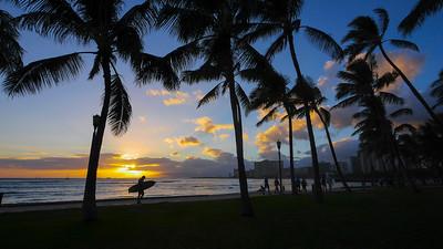 Sunset, Waikiki, Oahu, Hawaii