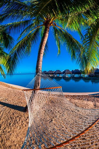 14 Jul 2014, Moorea, French Polynesia --- Hammock on the beach, Hilton Moorea Lagoon Resort, island of Moorea, French Polynesia. --- Image by © Blaine Harrington III/Corbis