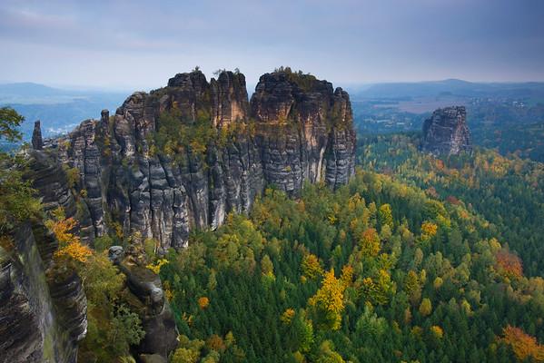 Saxon Switzerland National Park, Germany --- Rock formations in Saxon Switzerland National Park --- Image by © Roland Gerth/Corbis