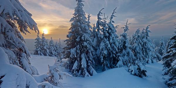 14 Feb 2013, Germany --- Snowy forest on the Schneekopf Mountain near Schmuecke, Ilm District, Thuringia, Germany --- Image by © Hans P. Szyszka/NA/Novarc/Corbis