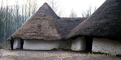 One of the latest buildings to be completed at the Museum is Bryn Eryr Iron Age Round House. The following description comes from the Museum web site:  Bryn Eryr was a small Iron Age farmstead near Llansadwrn in the eastern corner of Anglesey. During the Bronze and Iron Ages in Britain, roundhouses were the most common form of home.   These roundhouses are reconstructions based on the archaeology of the original houses which were excavated by the Gwynedd Archaeological Trust between 1985 and 1987.   The excavations revealed three substantial roundhouses. The earliest and largest house was built during the Iron Age and enclosed by a timber stockade.   The second roundhouse, probably built shortly before the Roman invasion was placed right next to the first while the stockade was upgraded to a more permanent rectangular-shaped bank and ditch.   During the first millennium AD, as the banks were eroding and the ditch silting, a third house was built on stone footings.      Bryn Eryr is an experimental reconstruction of the earliest two houses, and due to their close proximity to each other, it is quite likely they formed one building with two rooms. Such buildings, sometimes called figure-of-eight, or conjoined roundhouses, have only recently been identified, and consequently very few reconstructions have been attempted.  Moreover, the Bryn Eryr roundhouses have walls of rammed clay 1.8m thick – a first for reconstructed roundhouses.