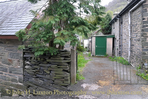 Corris Village, Gwynedd, May 05, 2013 Route of the former Corris Railway crossed the road at this point on the section to Aberllefenni,