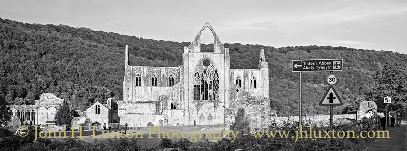Tintern Abbey - west elevation on a sunny evening.