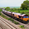 66015 at descends from the Bishton Flyover with 4C55, empty HTA coal hoppers to Avonmouth.  4 May, 2009.