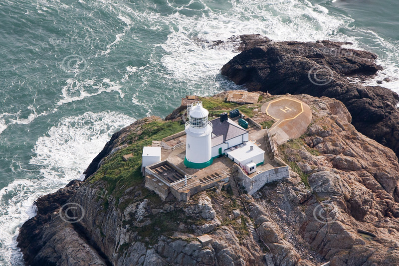The South Bishop Lighthouse in South Wales from the air.