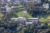 St. David's Cathedral in South Wales from the air.