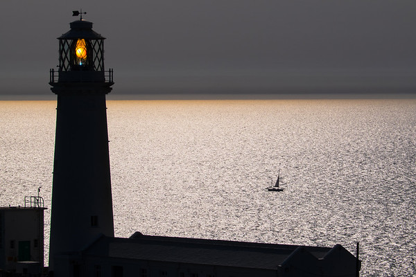 Sailing past South Stack lighthouse