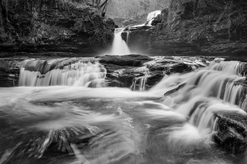 Sgwd Isaf Clun-gwyn Waterfall , Afon Mellte in Black and White