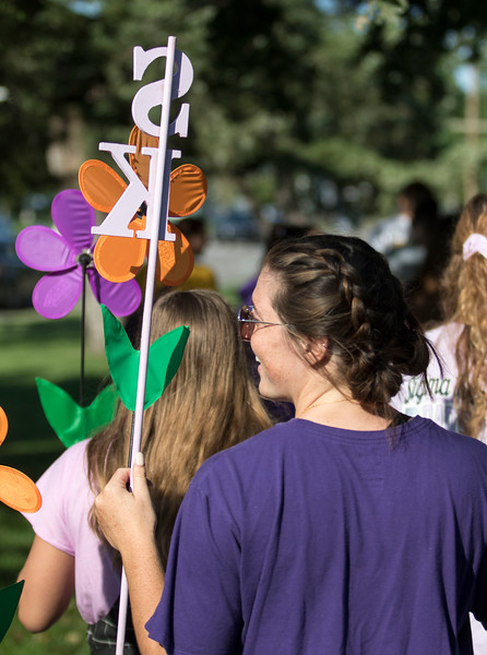 Members of Sigma Kappa Sorority gather together at the Walk to End Alzheimer's at City Park to support the cause on Sept. 14, 2019.  ( Sabrina Cline | Collegian Media Group )