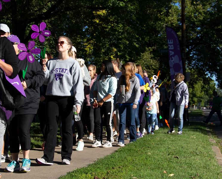 Walking down 11th street, Manhattan community members walk to end Alzheimer's on Sept. 22. The organization met their goal and raised over $50,000. (Jessica Cude | Collegian Media Group)