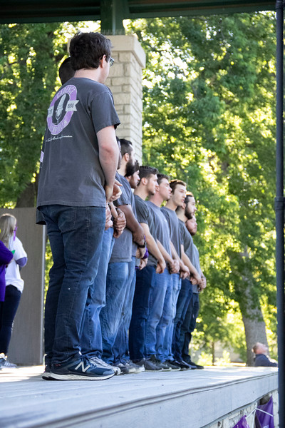 Members of the A Cappella group, Cadence, sing the National Anthem at the ceremony before the Walk to end Alzheimer's on Sept. 22.  (Jessica Cude | Collegian Media Group)