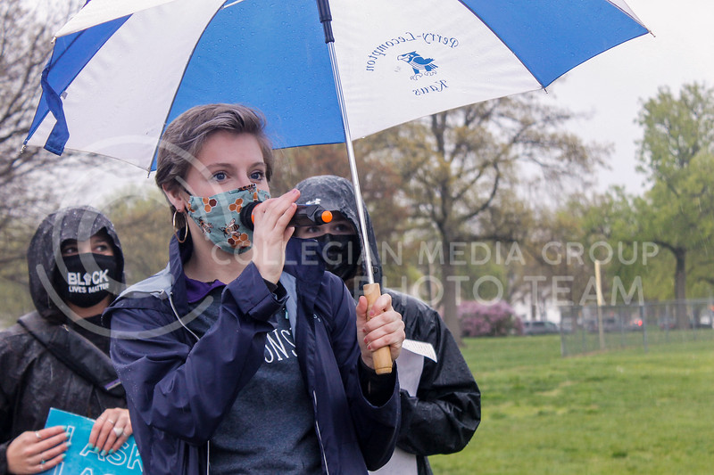 """Sara Haggard, SGA's sexual assault awareness and prevention director, led chants with phrases like """"K-State can't wait"""" during the annual Walk Against Sexual Violence.  (Kaylie McLaughlin 